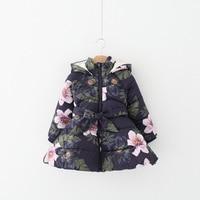 2017 New Brands Fashion Autumn Winter Flowers Hooded Girls Outerwear Jacket Kids Belt Pretty Girls Zipper