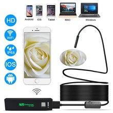 Cámara endoscópica WIFI Mini boroscopio impermeable Cable suave 1200P cámara de inspección 8mm USB endoscopio para IOS Android