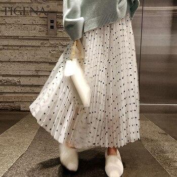 b229010f1d TIGENA forro de terciopelo de faldas mujeres 2019 invierno lunares falda de  cintura alta Falda Midi Falda larga negro blanco rosa