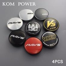 KOM 60/55mm clip rays volk ssr vs jp ms logo emblem sticker wheel center cap hubcaps for rim car-cover 4pcs universal