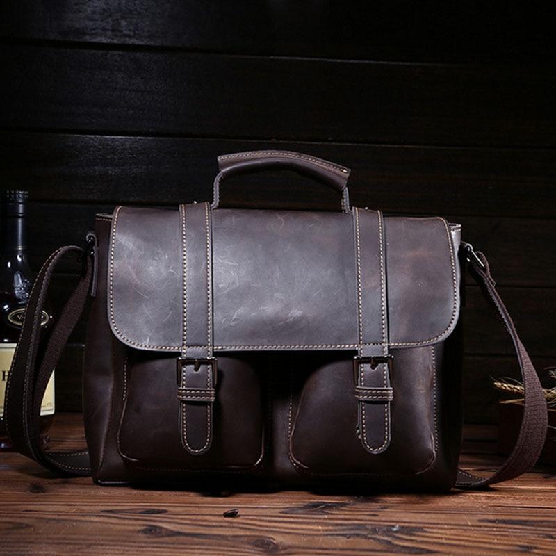 Здесь можно купить  High Quality Genuine Leather Vintage Men Bag Cross Body  Top Handle Business Messenger Shoulder Bags Handbags  Камера и Сумки