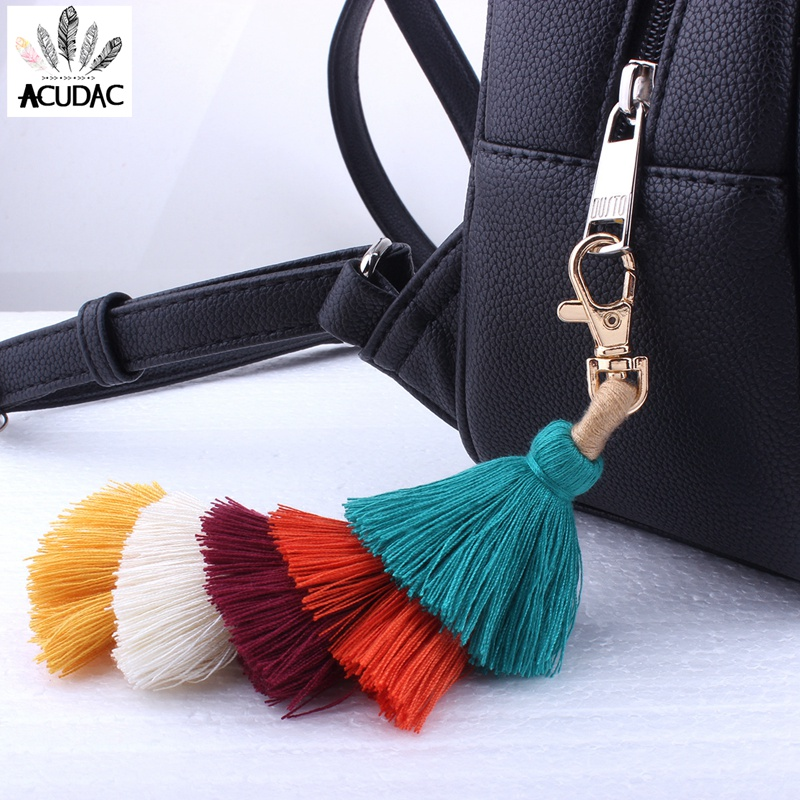 New Arrival 2017 Multi Colorful Boho Tassel Key Chains Bag Accessories Tassel Rainbow Charm Keychain Outfits Xmas Gifts