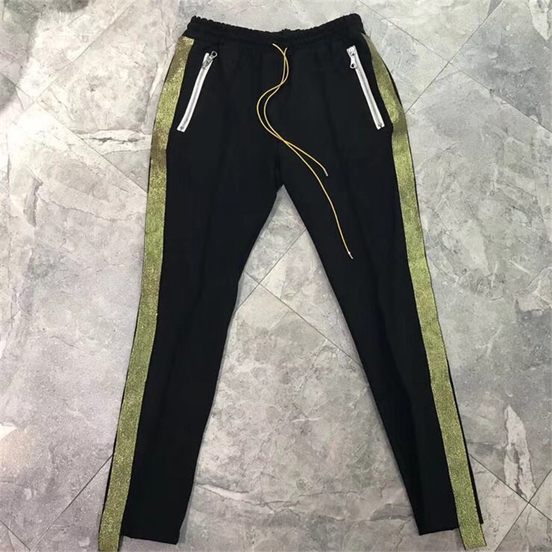 RHUDE Sweatpants Women Men 1:1 High Quality Trousers Riri Zipper Fashion Casual Hip H RHUDE Drawstring Joggers Pants