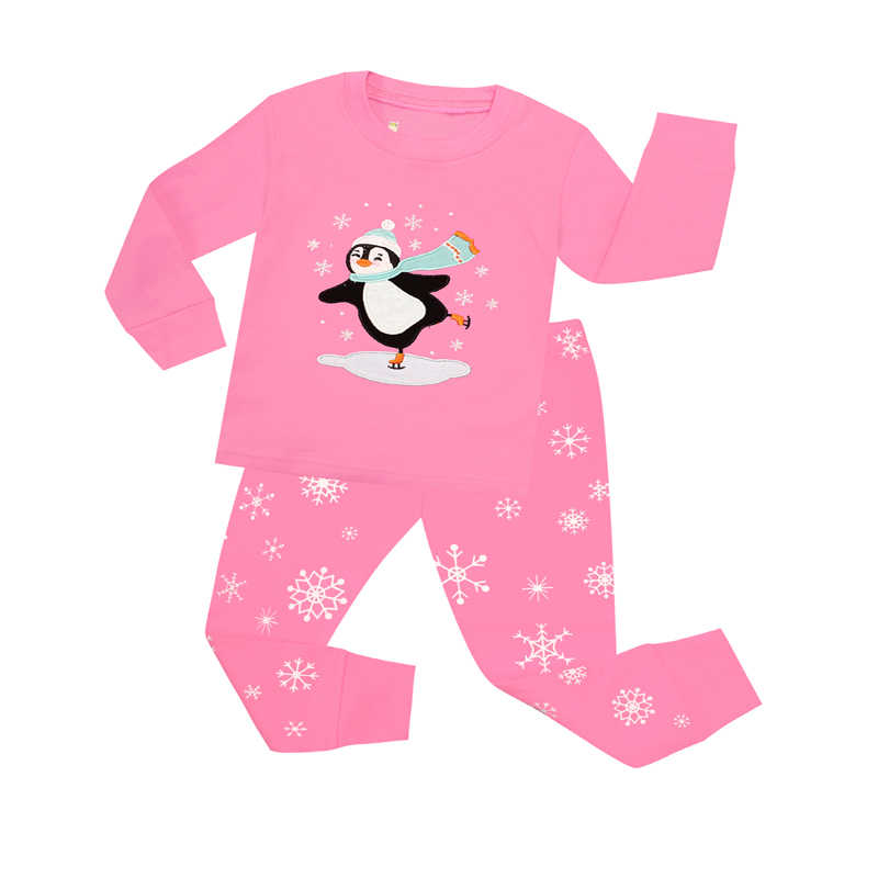 TINOLULING 100% хлопок пижамы для детей Дети Пингвин Пижама Рождество пижамы  для девочек ночное белье 7a9b781991b77