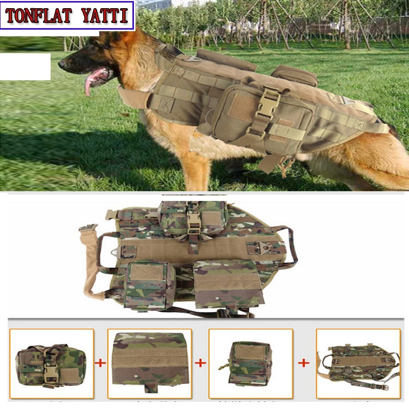 2017 Outdoor Protection Army Tactical Dog Vests Military Dog Clothes Load Bearing Harness SWAT Dog Training rescue Molle Vest camouflage tactical vest mens hunting vest outdoor black training military army swat mesh vests protective equipment