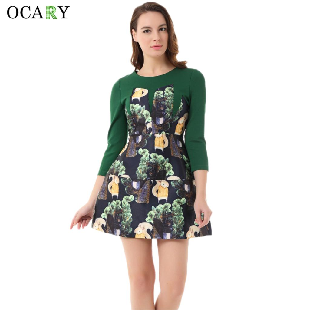 OCARY Brand 2017 Fashion Women Spring Winter Dress Vintage ...
