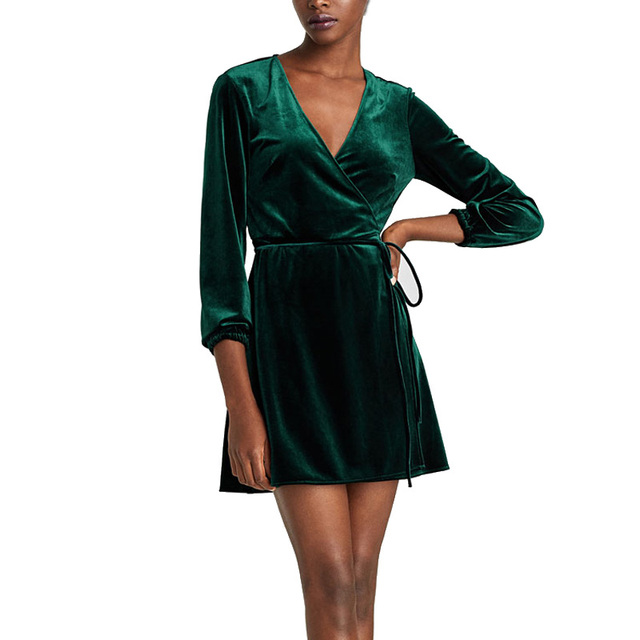 Elegant V-Neck Wrap Dress Women Winter Long Sleeve Velvet Dress Femme 2018  Short Party Dresses Robe Hiver 3c20ef024443