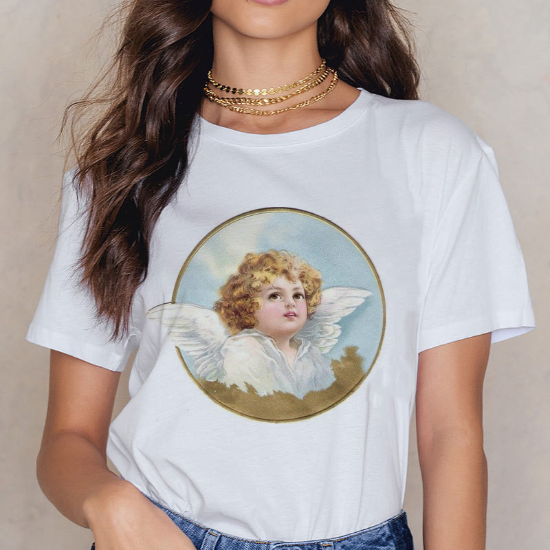 Angel 90s Fashion T Shirt Women Kawaii Print Short Sleeved O-neck T-shirt Vintage Vogue Ullzang Tshirt Harajuku Top Tees Female 4