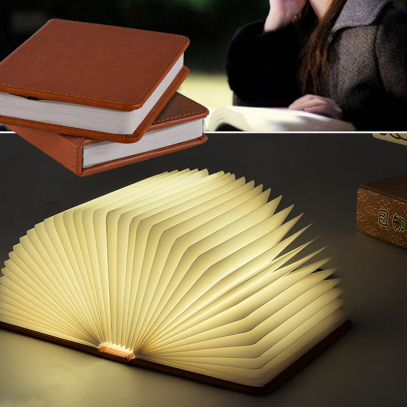 Oobest 5 Colors Wood Turning Books Nightlight USB Rechargeable LED Folding Lamp Book Creative Fashion Gift