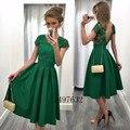 Vestidos de Cóctel de color Verde oscuro 2017 Backless Una Línea Appliques robe de Longitud de Té Vestidos de Fiesta de cóctel V Volver Encaje Formal vestido
