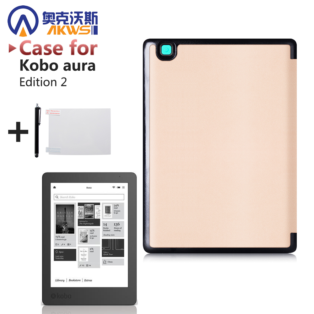 for 2016 Kobo Aura Edition 2 6 inch Ereader protective case smart cover with sleep/awake + protector film + stylus