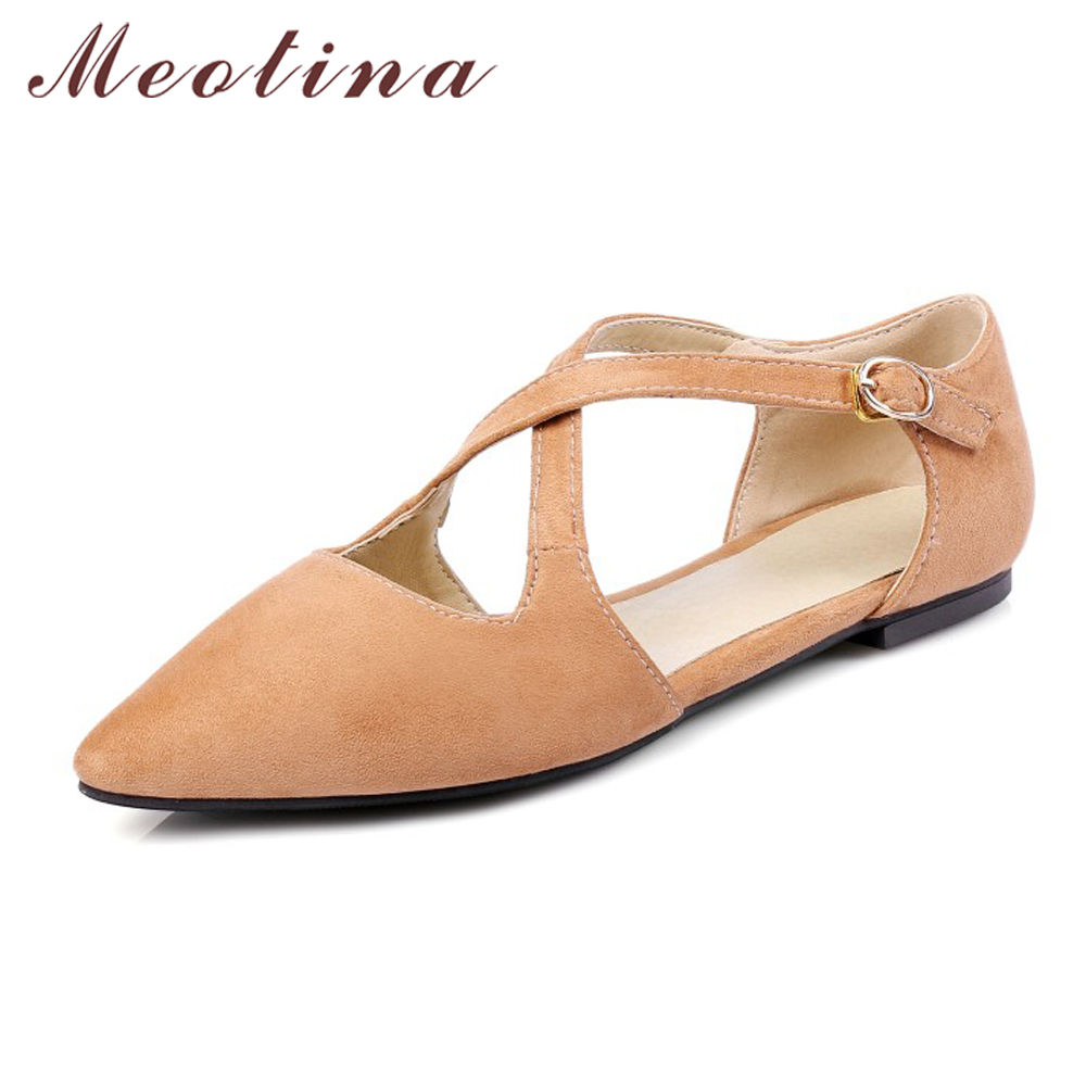 Meotina Women Shoes Flats Pointed Toe Causal Flat Shoes Cross Tied Ballet Flats Ladies Shoes Grey Black Size 34-39 meotina brand design mules shoes 2017 women flats spring summer pointed toe kid suede flat shoes ladies slides black size 34 39