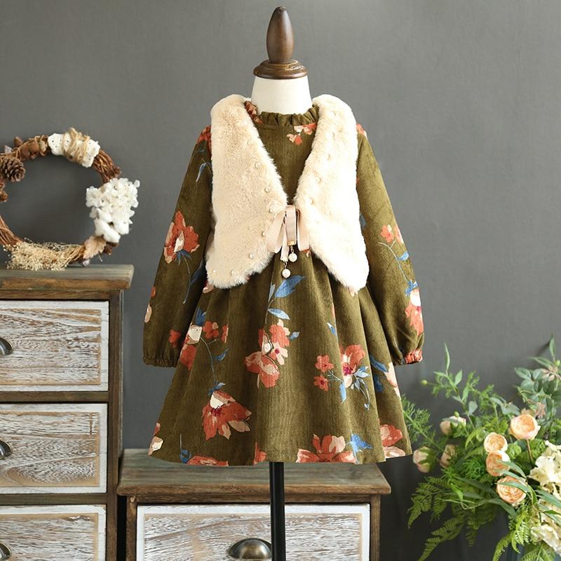 2017 fall and winter clothes for girls dress plush velvet floral dress beaded vest dress doll dress