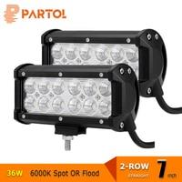 Partol 7 Inch 36W LED Work Lights Offroad Led Bar Light Spot Flood Led Driving Lamp