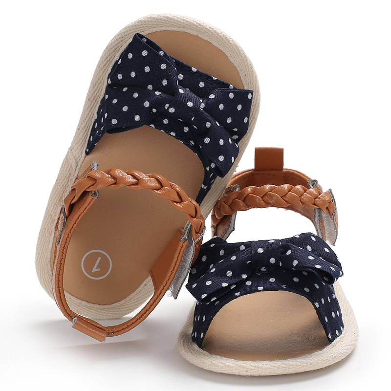 Summer Baby Shoes Soft Non-slip Crib Shoes Moccasin Sandal Baby Girls Sandals Bow Tie Princess Toddler Girl Prewalker Clothes