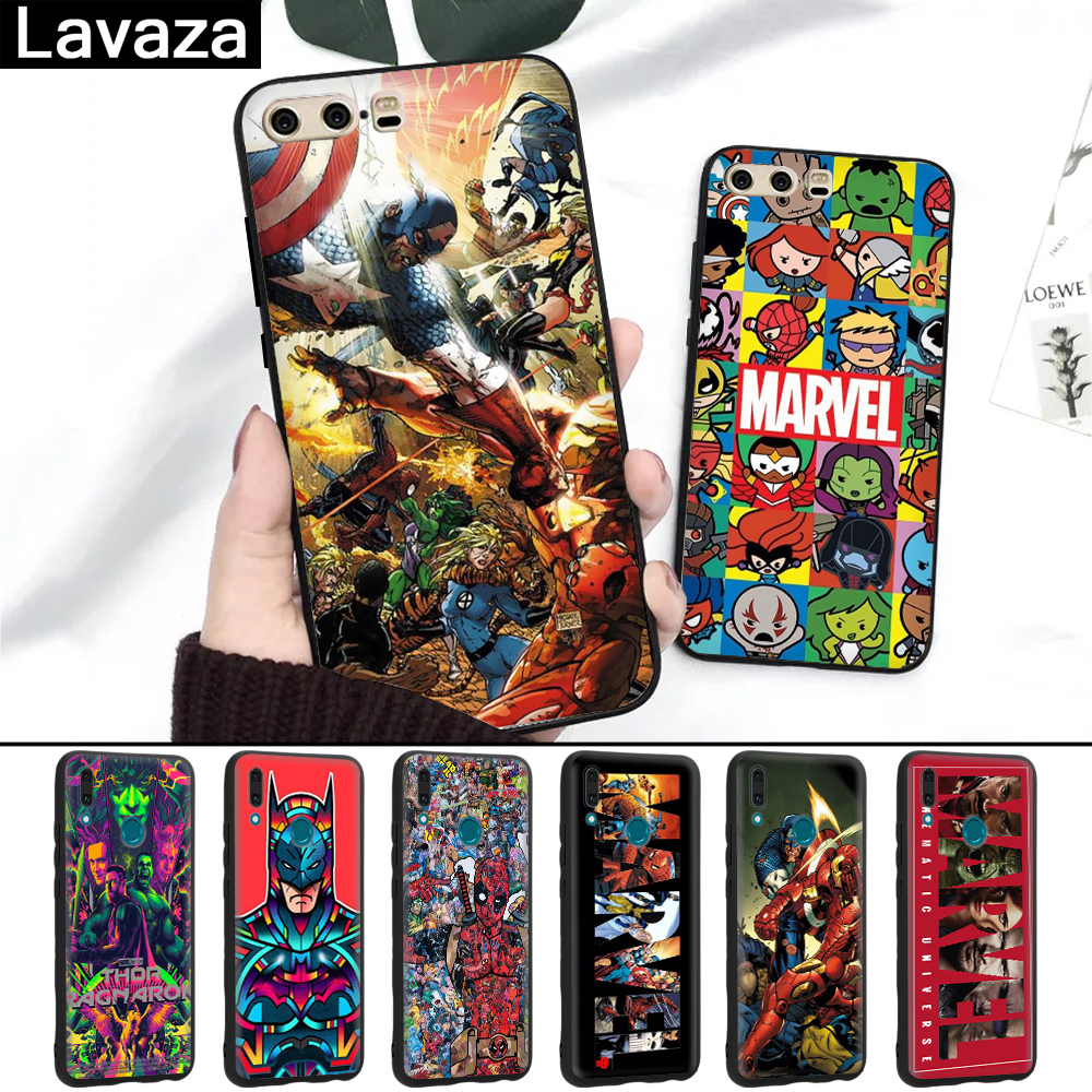 Lavaza Marvel Comics logo DIY Printing Drawing Silicone Case for Huawei P8 Lite 2015 2017 P9 2016 Mini P10 P20 Pro P Smart 2019 in Half wrapped Cases from Cellphones Telecommunications