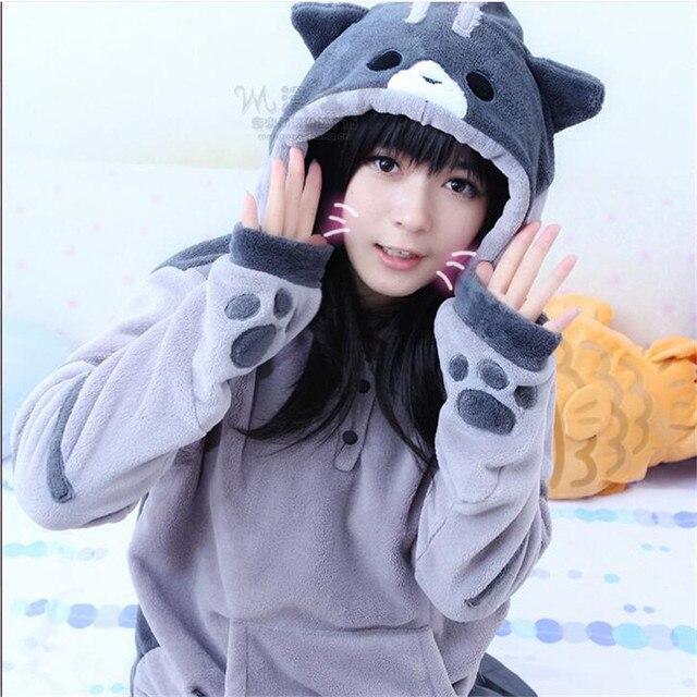 Hot sale Neko Atsume Kawwii Cosplay Costume Cute Cat Thicken cute Hoodies Flannel Hooded Sweatershirts Winter Coat Jacket  CS310