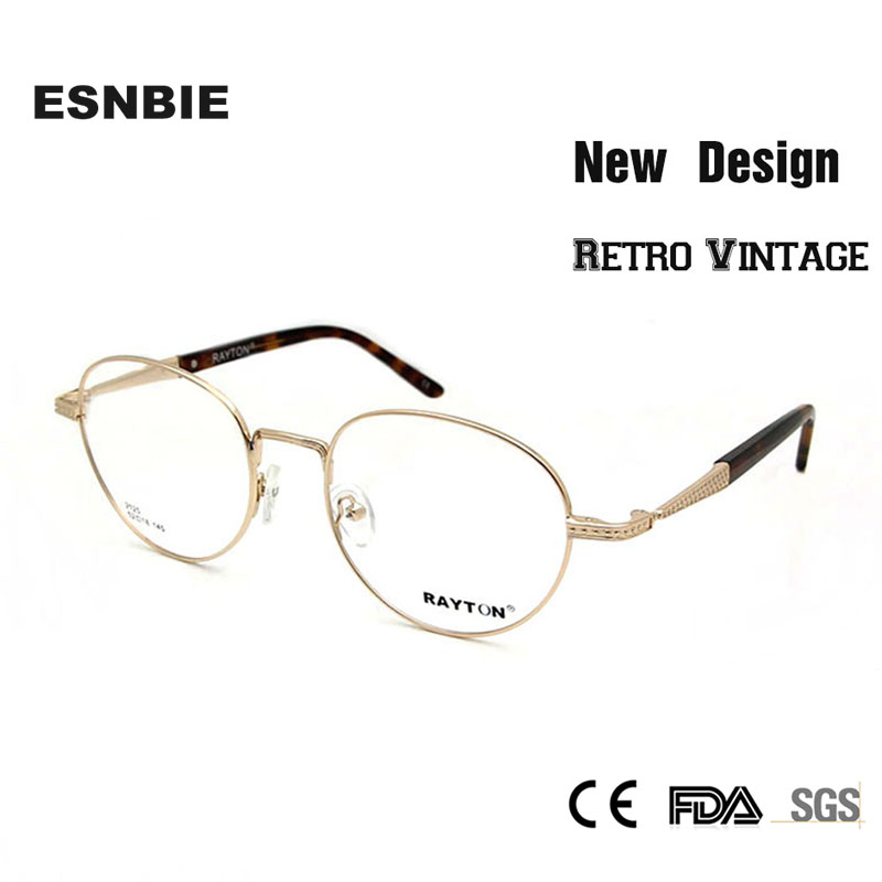 ESNBIE Alta Qualidade Grande Rodada Óculos de Armação de Metal dos homens  Mulheres Retro Óculos Moldura De Ouro Óculos Círculo Óculos de Prescrição ed9f67f6a0