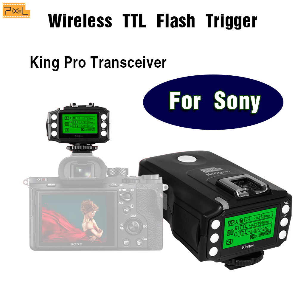 Pixel King Pro Wireless TTL Flash Trigger For Sony A7 A7R A7RII A77II A7II A7SII Hot shoe TTL Shutter 2.4G Multifunctional pixel x800s standard gn60 hss ttl flash speedlite 2pcs king pro 2 4g flash trigger transceivers for sony a7 a7s a7r a7rii