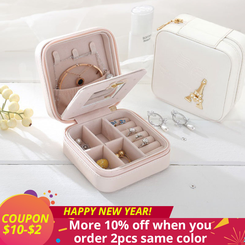Mini Travel jewelry box cosmetic makeup organizer packaging Boxes earrings storage Casket Container Graduation gift for girls