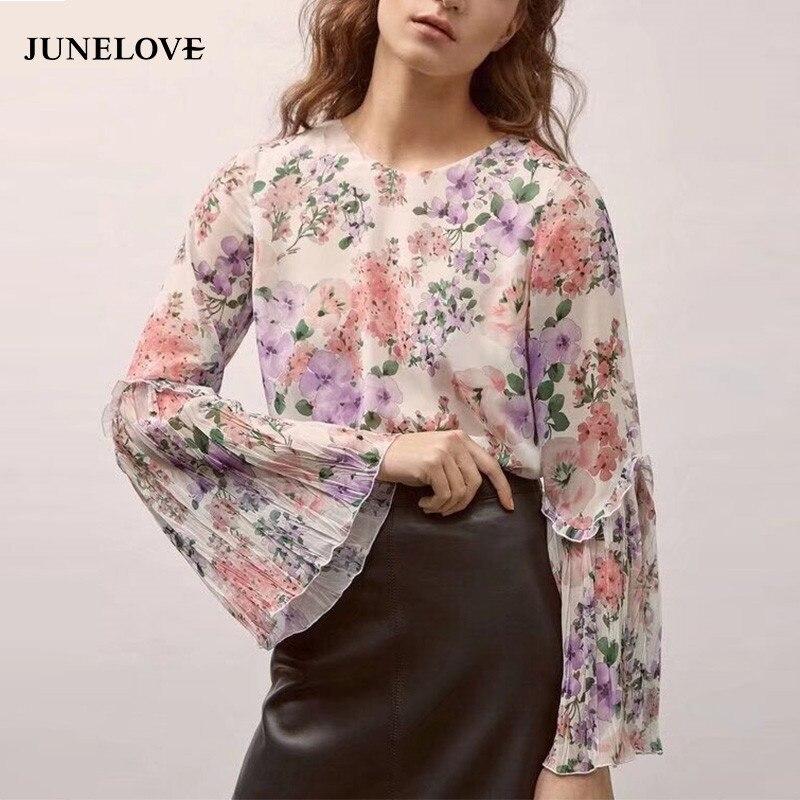 JuneLove 2019 mulheres primavera casual floral impresso blusa camisas o pescoço completo manga borboleta feminino blusas de manga flare