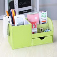 High end Multi function Pen Holder Pencil Organizer PU Leather Pen Pot Storage Stand For Desktop Pencil Cases Office Stationery