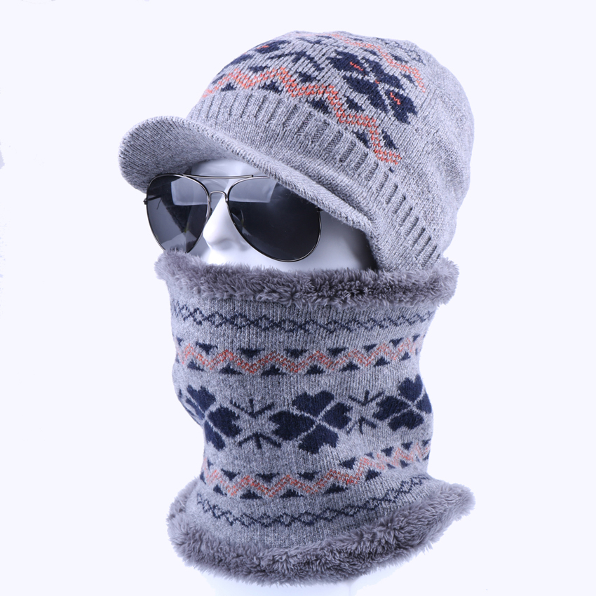 f5cc7af9070 Men Women Winter Hat Scarf Set Two-Pieces Warm Plush Wool Knitted Snowflake  Skullies Beanies Balaclava Mask Gorras Bonnet Hat