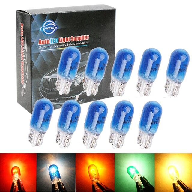 10/20pcs car t10 halogen w5w 194 158 wedges 12v 5w xexon lamp warm white amber instrument light reading light clearance lamp