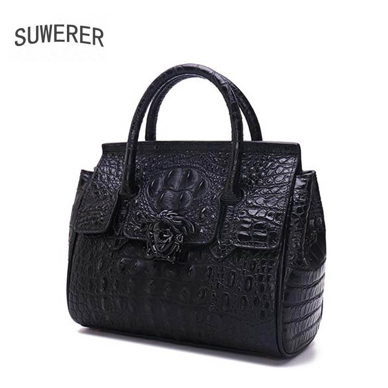 SUWERER 2018 New Superior cowhide genuine leather women bags Embossed crocodile pattern Fashion luxury tote women leather bag suwerer superior cowhide women genuine leather bags luxury women bag handbags fashion crocodile designer women leather bag