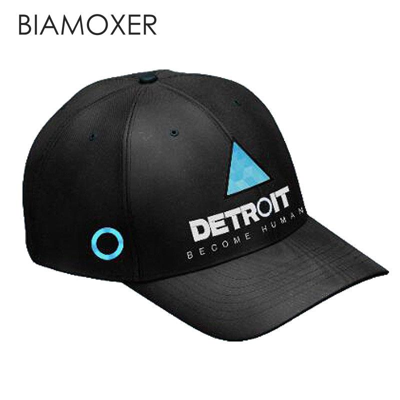 Biamoxer Game Detroit Become Human Connor RK800 Cosplay Cap Topee Baseball Hat Twill Snapback Adjustable Men Women Props New