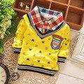 2016 spring new brand children's clothing Korean boy T-shirt cartoon head boys lapel long-sleeved round neck T-shirt