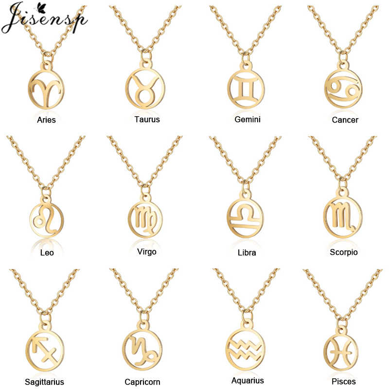 Jisensp New Fashion 12 Constellation Necklace Vintage Constellation Pendant Necklace for Women Girls Christmas Birthday Gifts
