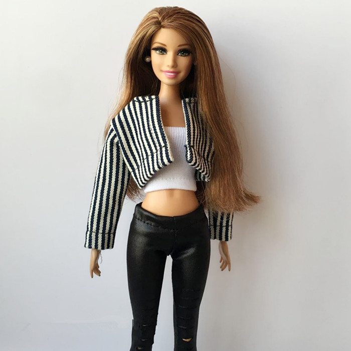3Pcs/set Striped Jacket+tube-tops+hole Pants For Pullip Doll 1/6 Fashion Blyth Clothes 30cm Doll Clothing Accessories For Barbie