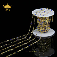 Wholesale Bead Rosary Chain Dark Blue 4mm Coin Glass Chain Wire Wrapped Jewelry Handmade Plated Gold Wire Stone Chain LS045