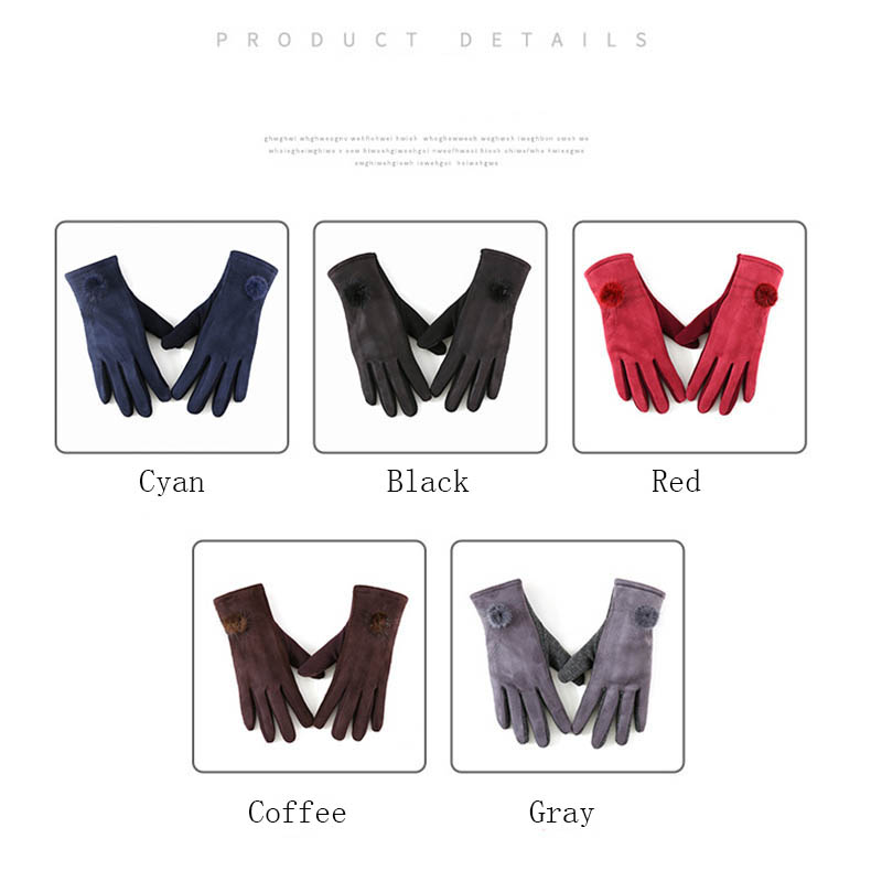 Winter Windproof Touch Screen Gloves for Female made of Cashmere Suede Leather Allows to Use Touch Screen Device Freely 10