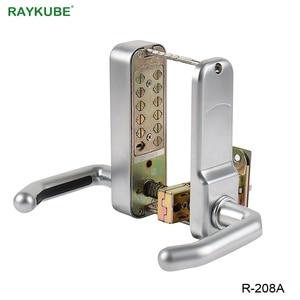 Image 4 - Блокировка двери RAYKUBE с паролем, цифровая механическая клавиатура с кодом, дверной замок без ключа, цинковый сплав, водонепроницаемый телефон