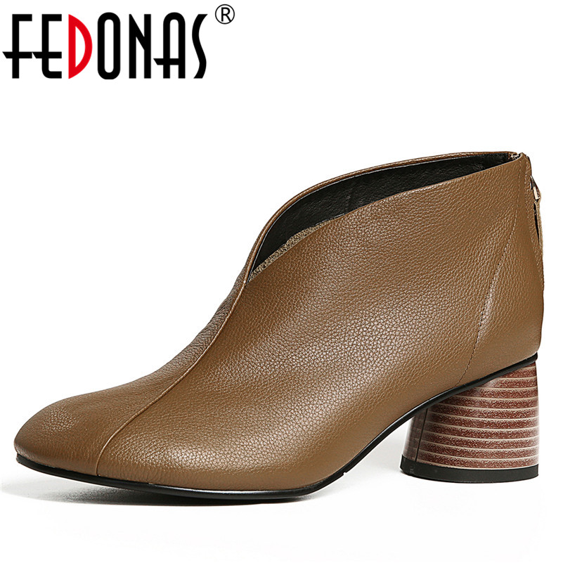 FEDONAS Women Retro Soft Genuine Leather Shoes Woman High Heels Pumps Vintage Autumn New Shoes Square