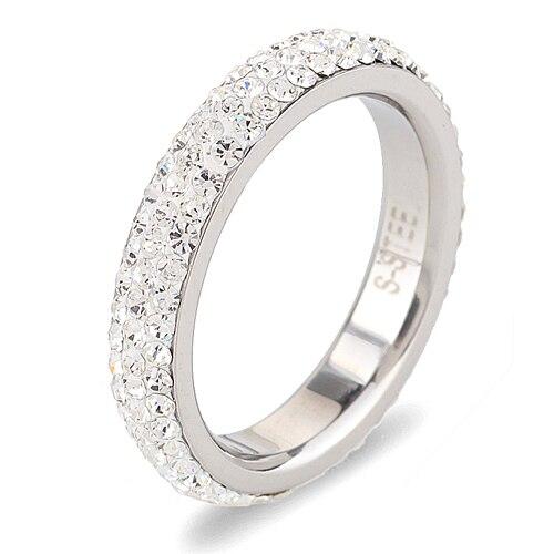 Полный Размеры три строки прозрачный кристалл из нержавеющей стали обручальные кольца ювелирные изделия Сделано с натуральными кристаллами cz