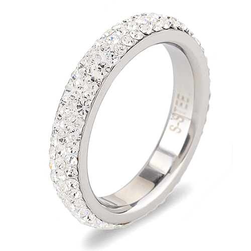 Full Size three row clear crystal Stainless steel Wedding rings fashion jewelry Made with Genuine CZ Crystals