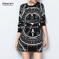 Harajuku Women Black White Clock Print Pattern Diamante Long Sleeve Best Friends Spring Sweatshirt Korean Streetwear Hoodie