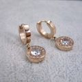 1.1cm Rhinestone CZ Round Drop Earrings Rose Gold Plated Titanium Steel Women Jewelrys