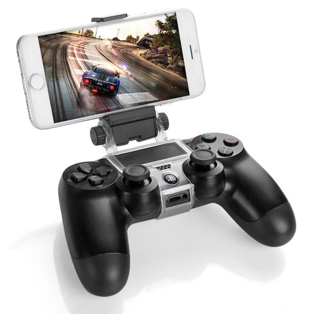 Game Controller Holder Clip Mount Gamepad Cradle Extendable Mobile Phone Stand with OTG Cable for Sony PlayStation PS4