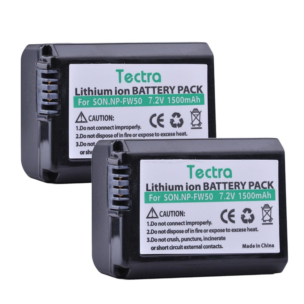 Tectra 1500mAh 2PCS NP-FW50 NPFW50 Battery For Sony NEX-3N NEX-5 NEX-5N NEX-5R DSC-RX10 Alpha A5000 A6500 NP FW50 Battery