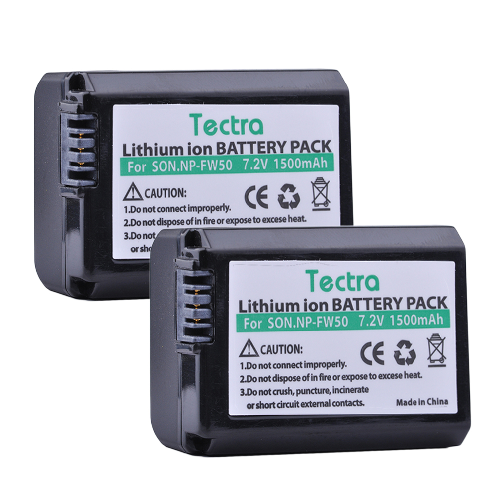 Tectra 1500mAh 2PCS NP-FW50 NPFW50 Battery for <font><b>Sony</b></font> NEX-3N NEX-5 NEX-5N NEX-5R DSC-RX10 <font><b>Alpha</b></font> <font><b>a5000</b></font> a6500 NP FW50 Battery image