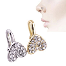 1PC Amazing 3 Colors 3 Styles Nose Rings & Studs Crystal Heart Shape Nose Clip Fake Nose Ring Faux Piercing Fake Septum(China)