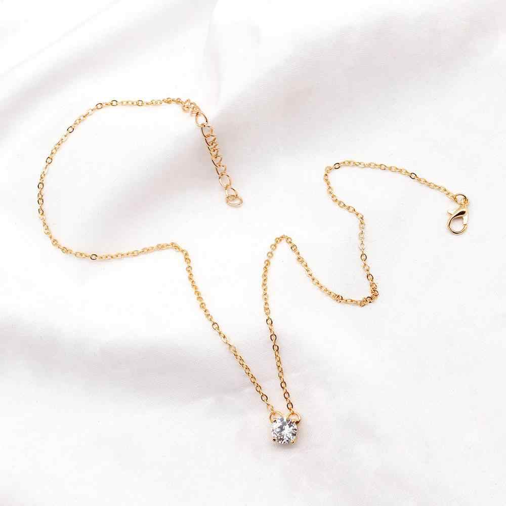 Shiny Zircon Invisible Transparent thin Line Simple choker Necklace women Jewelry collana Kolye Bijoux Collares collier femme