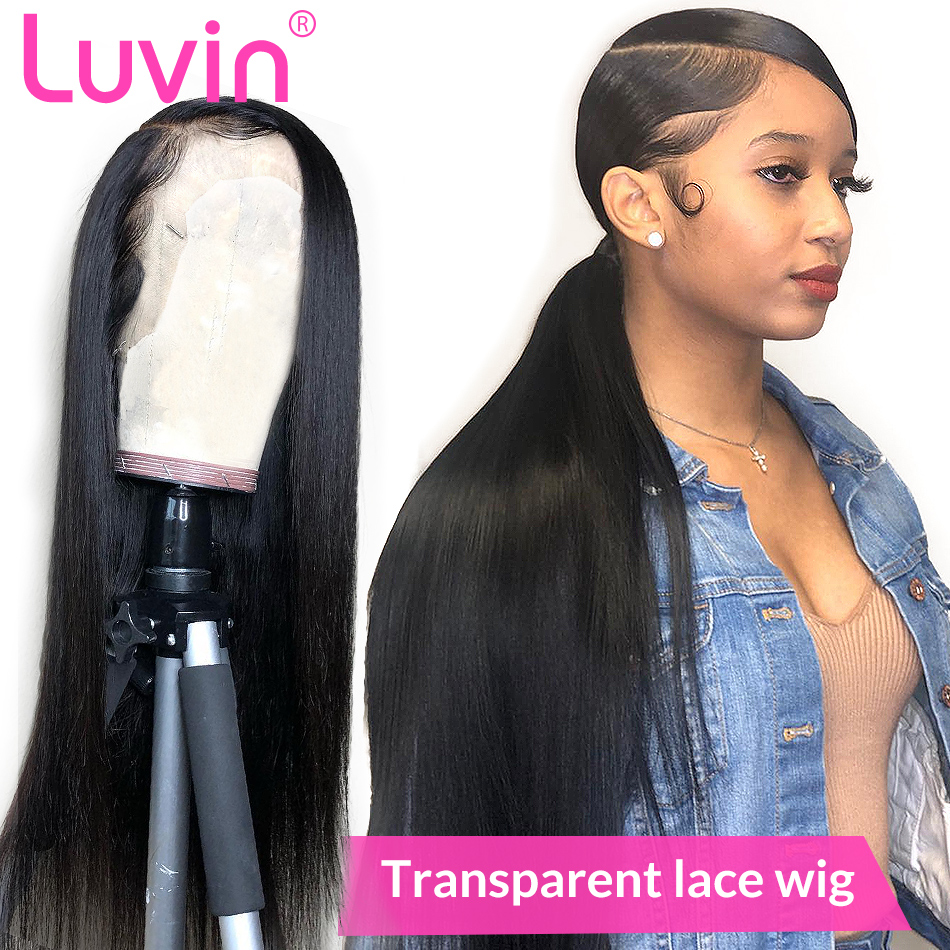 LUVIN HD Transparent Lace Front Human Hair Wigs Brazilian Virgin Straight Glueless Full Lace Frontal Wig
