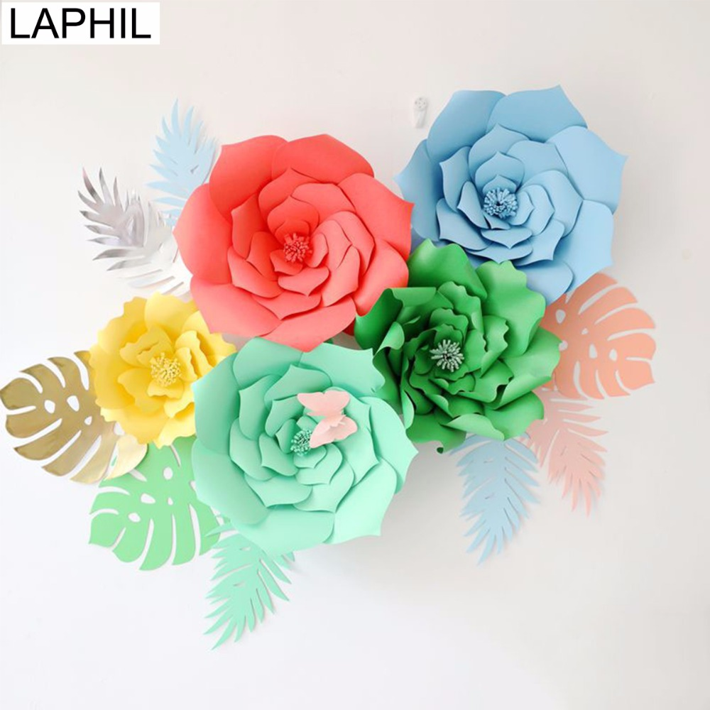 Laphil 2pcs 20cm Diy Paper Flowers Birthday Party Backdrop Gold