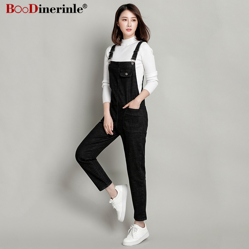 BOoDinerinle Plus Size 8XL Women's Denim Overalls Women Autumn 2019 Fashion Black Wide Leg Pants Women's Loose Casual Jumpsuit
