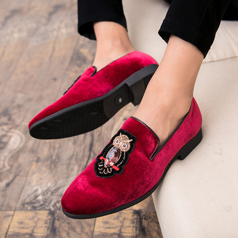 Cajacky Men Shoes Wine Red Dress Loafers Owl Men Loafers Plus Size Party  Wedding Prom Men Shoes Driving Slip On Men Casual Shoes-in Men s Casual  Shoes from ... 34ec242c04d6
